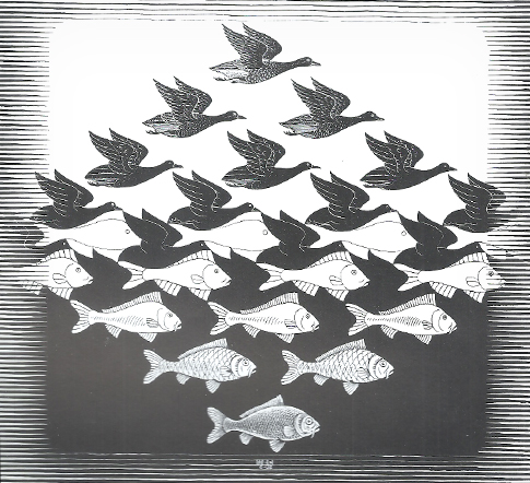Sky and water 1, 83x63, 1938, woodcut